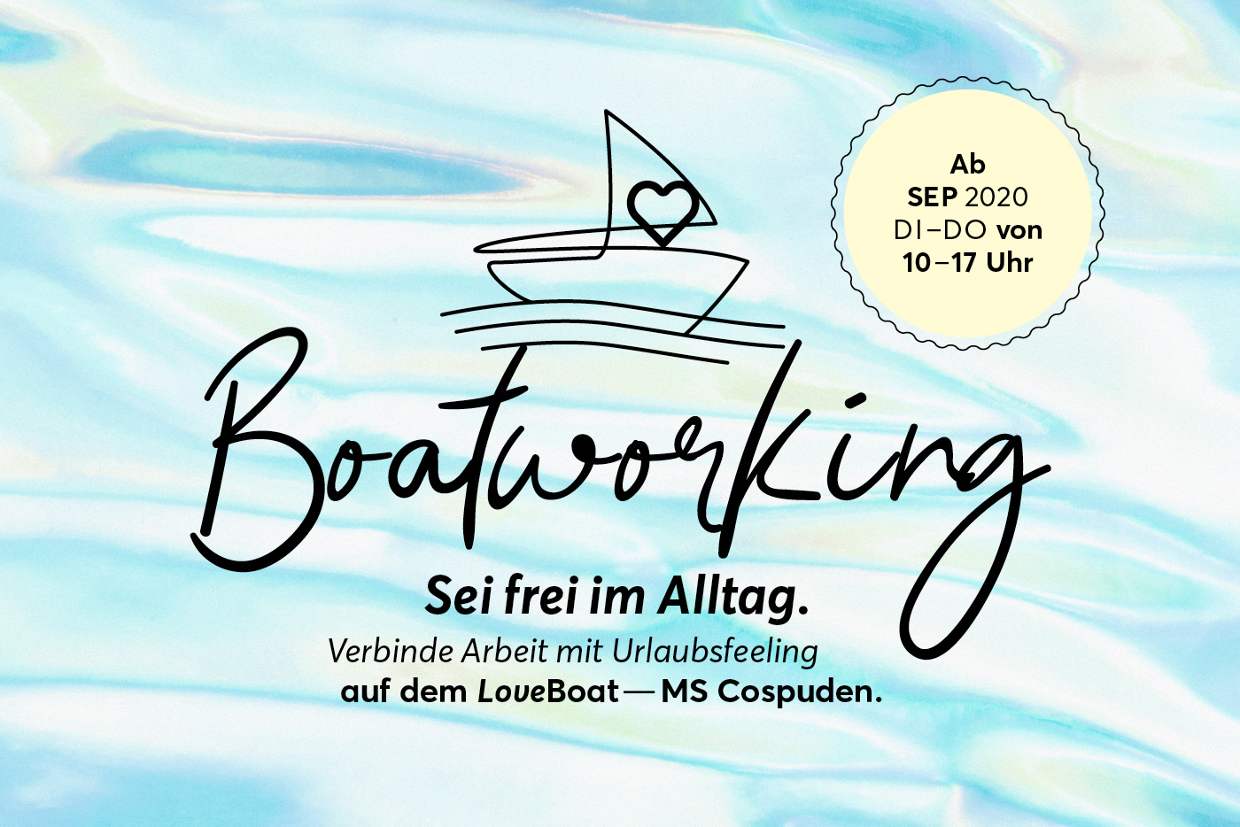 Boatworking, Coworking auf dem LoveBoat, MS Cospuden, Leipzig, ab 7. September 2020